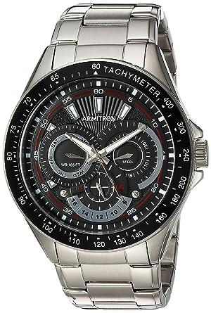 3a513a653550 Armitron Men's 20/5197BKSV Multi-Function Dial Silver-Tone Bracelet Watch