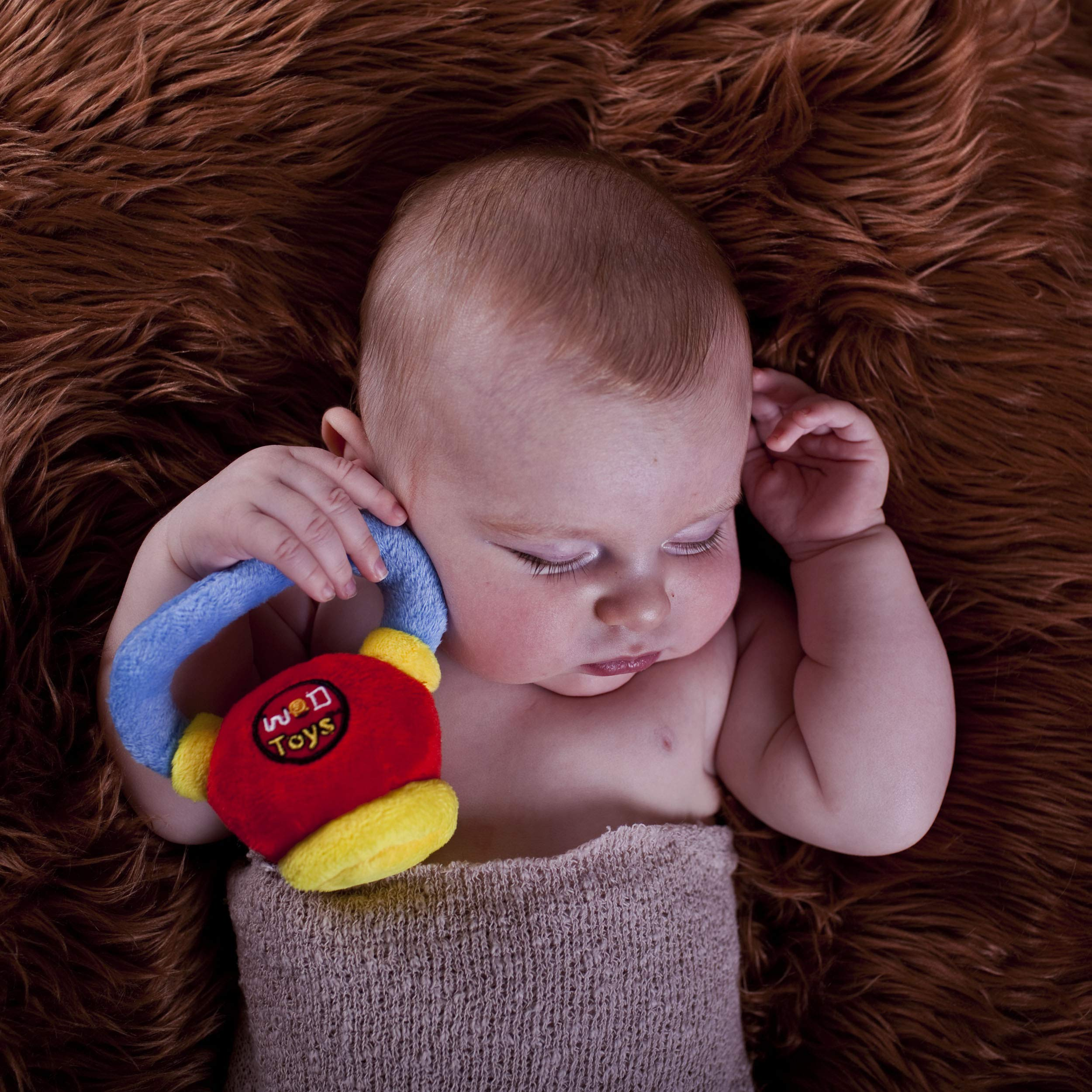 Infants and Babies WOD Toys Baby Barbell Plush with Rattle Toy for Newborns