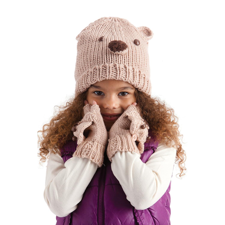 Berretto Invernale Ricamato con Orsetto Bambina