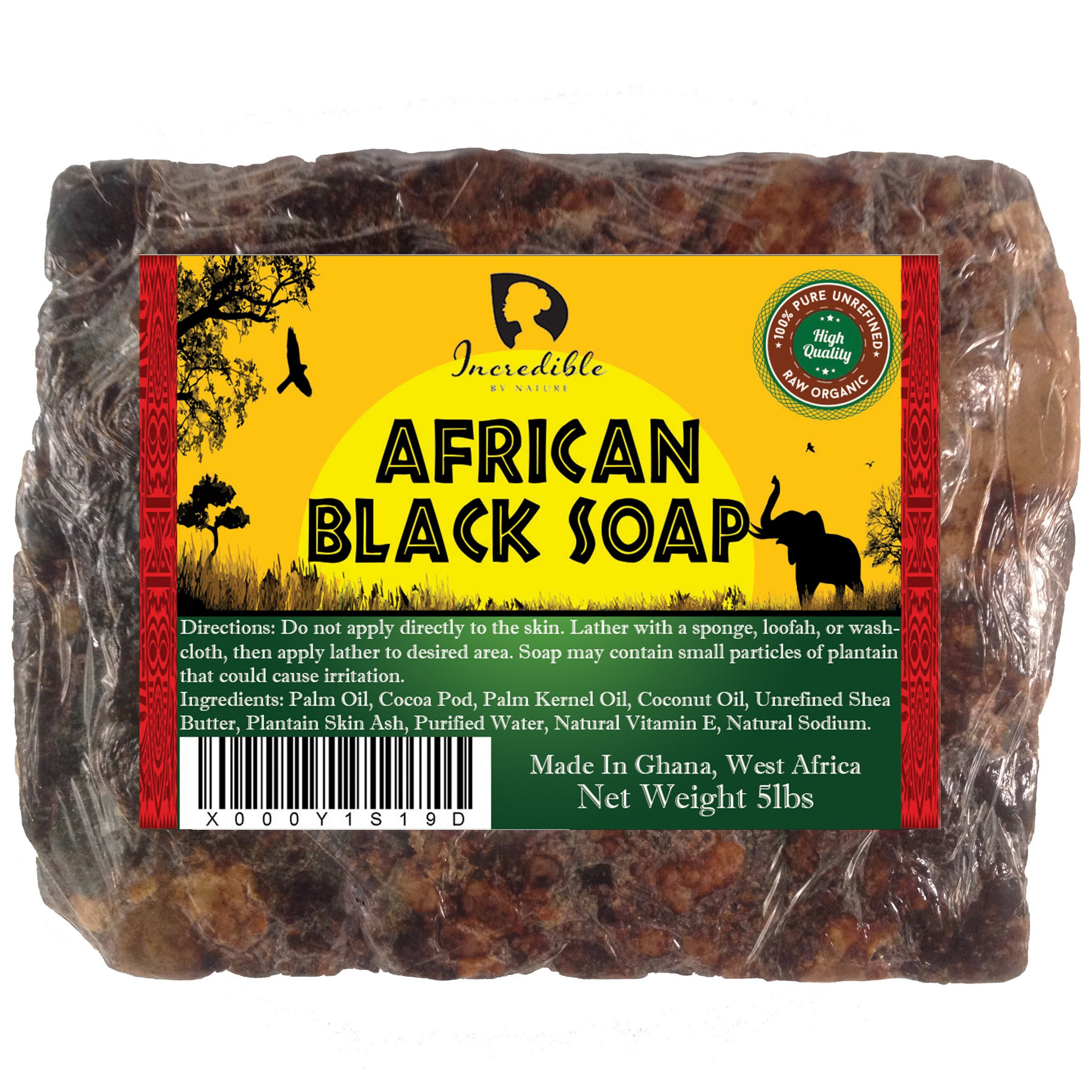 African Black Soap   Bulk 5lb Raw Organic Soap for Skin Conditions Such as Acne, Dry Skin, Rashes, Burns, Scar Removal, Face & Body Wash   Beauty Bar From Ghana West Africa   Incredible By Nature