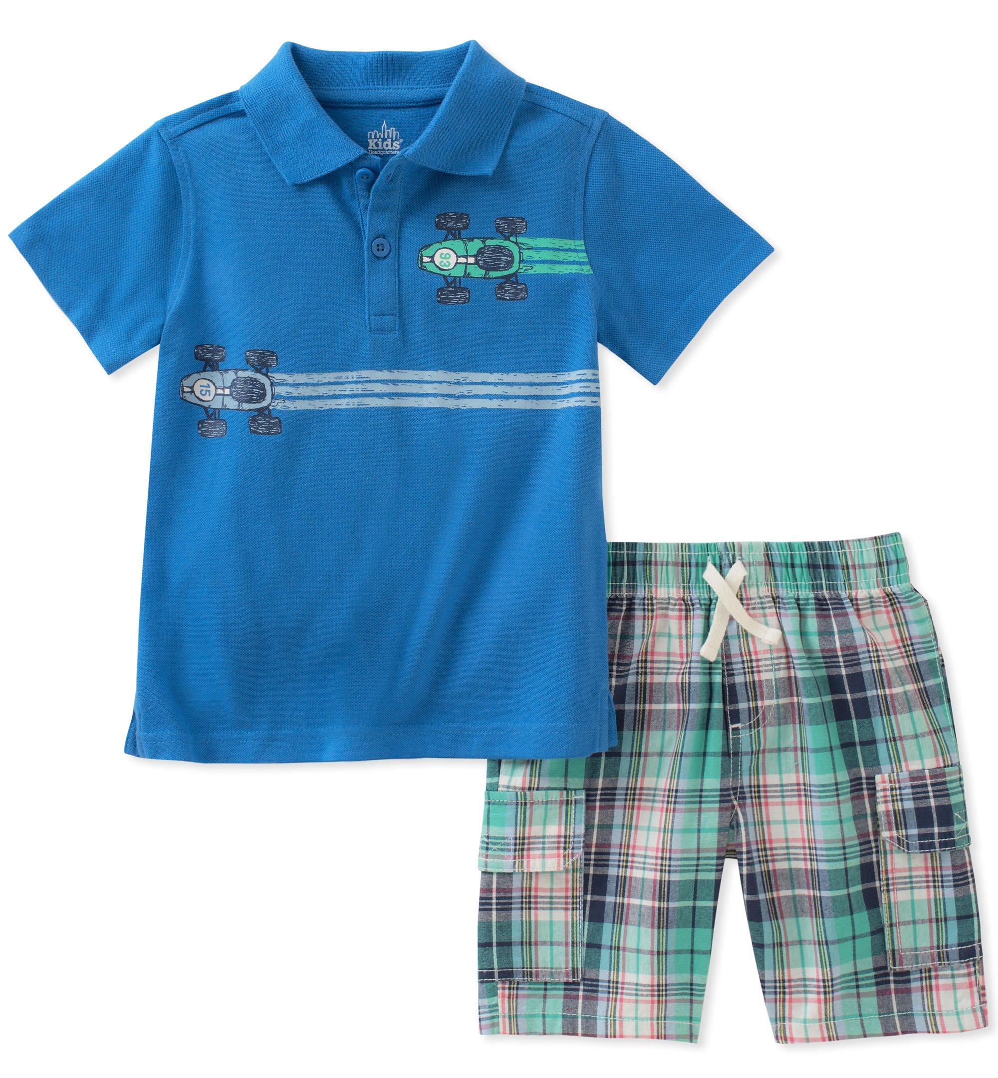 Kids Headquarters Boys' Toddler 2 Pieces Polo Shorts Set, Blue, 2T