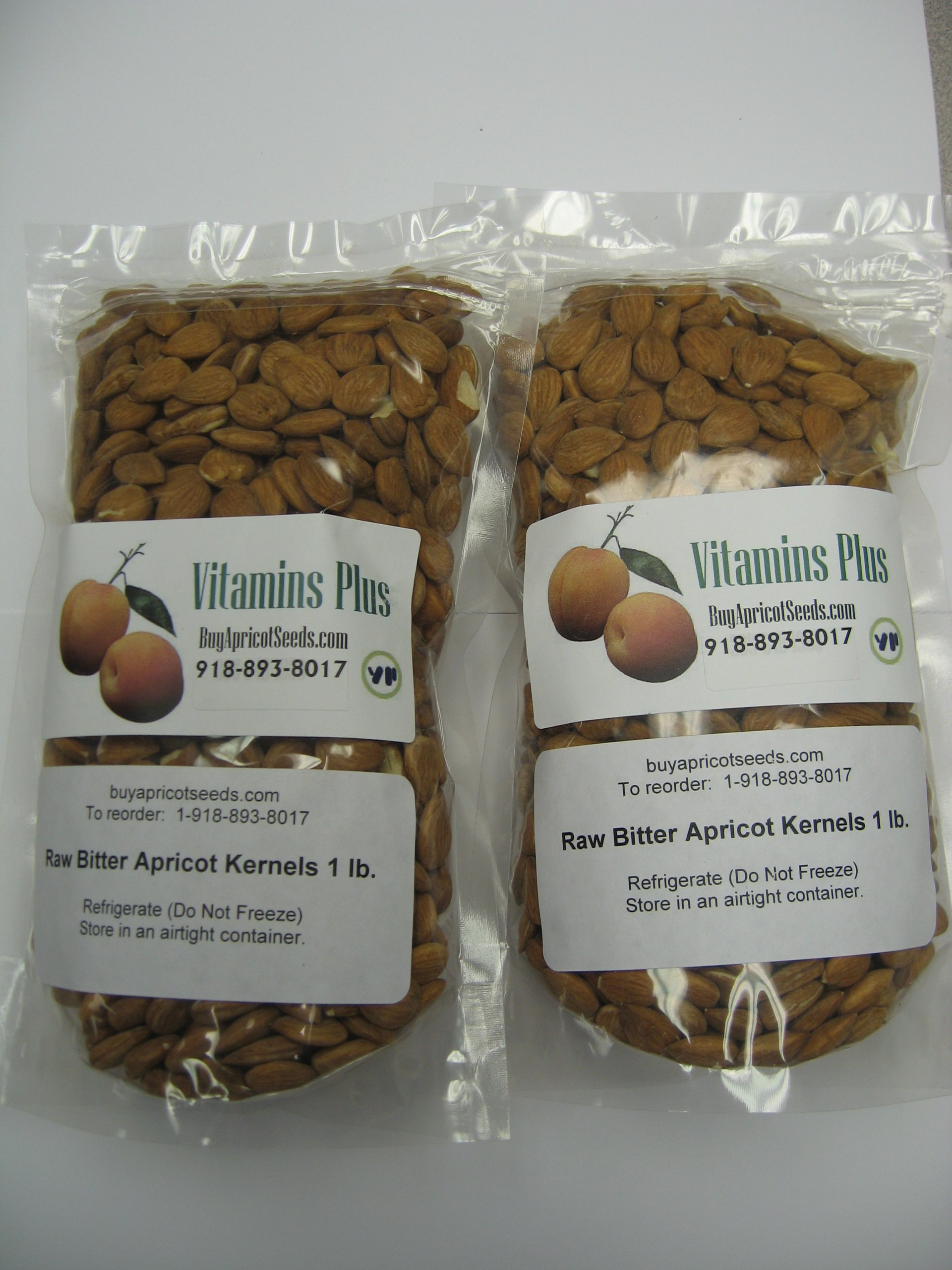 Apricot Kernels (Seeds) 2 X 1lb Bag (Resealable) Raw and Bitter