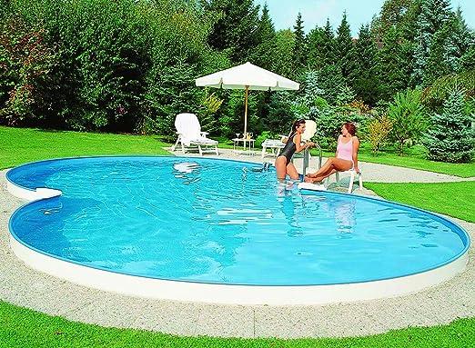 Exklusiv Acero Pared Pool achtform 625 x 360 x 150 Juego completo incluye filtro de arena, acero inoxidable escalera etc.: Amazon.es: Jardín