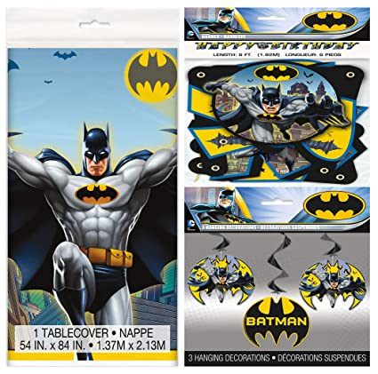 Unique Industries Batman Party Supplies Pack Including Tablecover, Happy Birthday Banner and Hanging Swirl Decorations