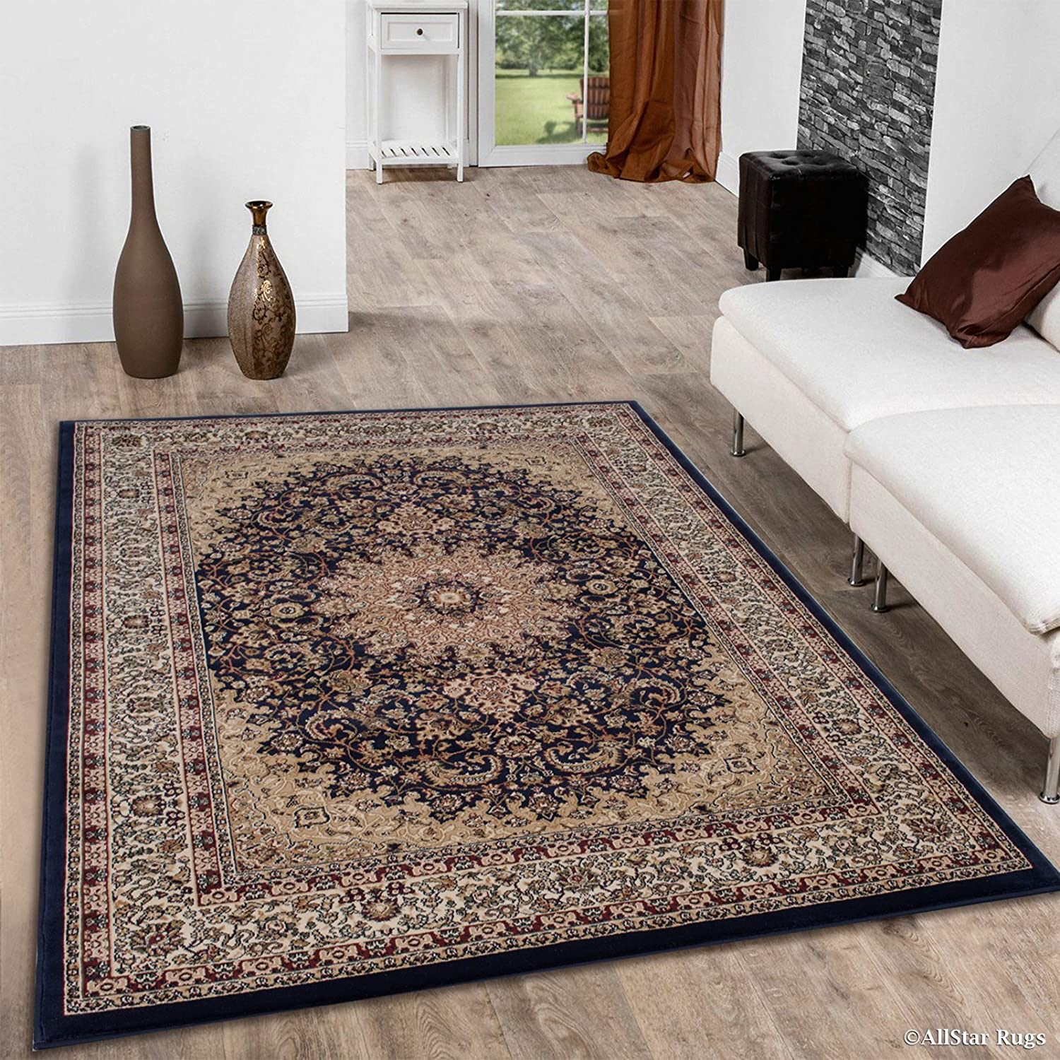 Amazon com allstar 7 x 10 navy blue with burgundy dense high pile persian area rug 6 7 x 9 3 kitchen dining