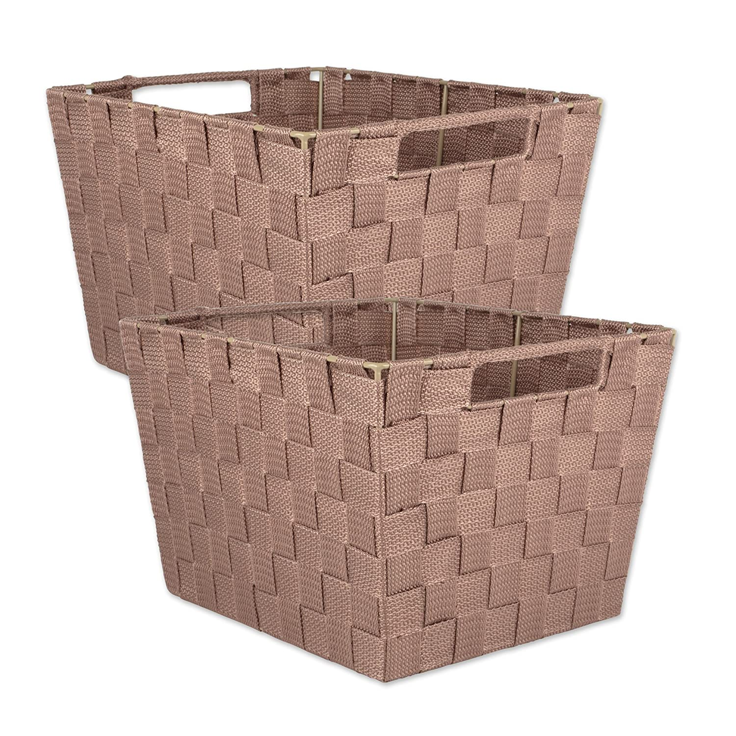 DII Durable Trapezoid Woven Nylon Storage Bin or Basket for Organizing Your Home, Office, or Closets (Tray - 13x15x5') Black - Set of 2 or Closets (Tray - 13x15x5) Black - Set of 2 CAMZ37530