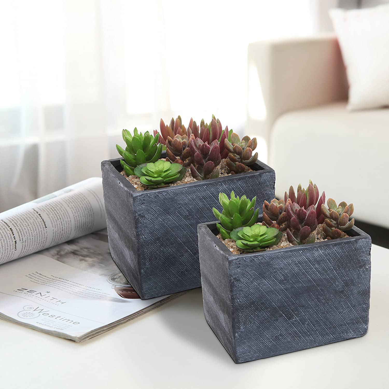 Small Herb Pots Part - 25: Amazon.com: MyGift 6 Inch Terracotta Ceramic Herb Pots, Rectangular  Succulent Planter Containers, Set Of 2, Gray: Patio, Lawn U0026 Garden