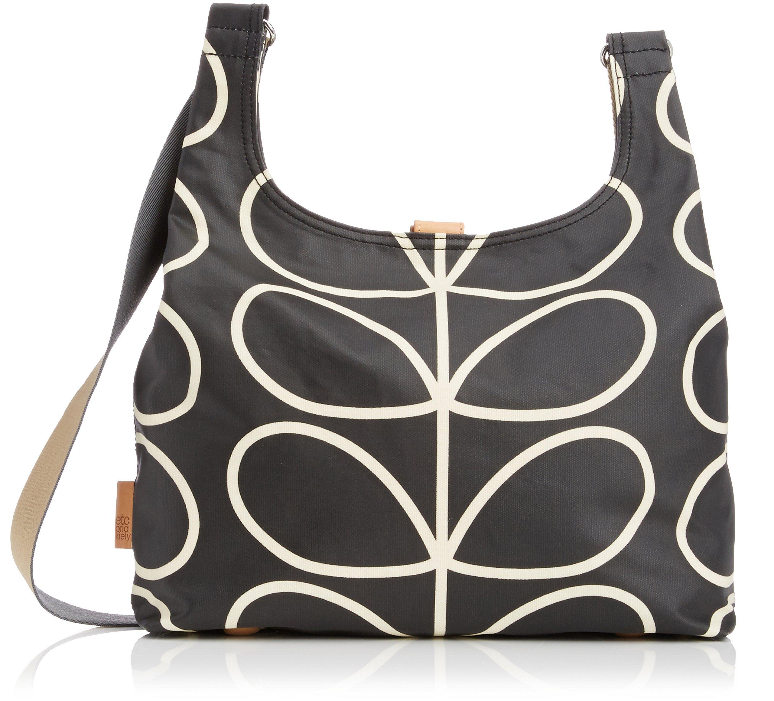Etc Giant Linear Stem Midi Sling Bag Cross Body, Black+Cream, One Size