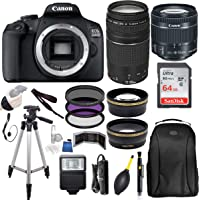Canon EOS 2000D (Rebel T7) Digital SLR Camera w/ 18-55MM is ii Lens Kit (Black) with Canon EF 75-300MM Lens Professional Accessory Bundle Package Includes: SanDisk 64gb Card + 50'' Tripod and More
