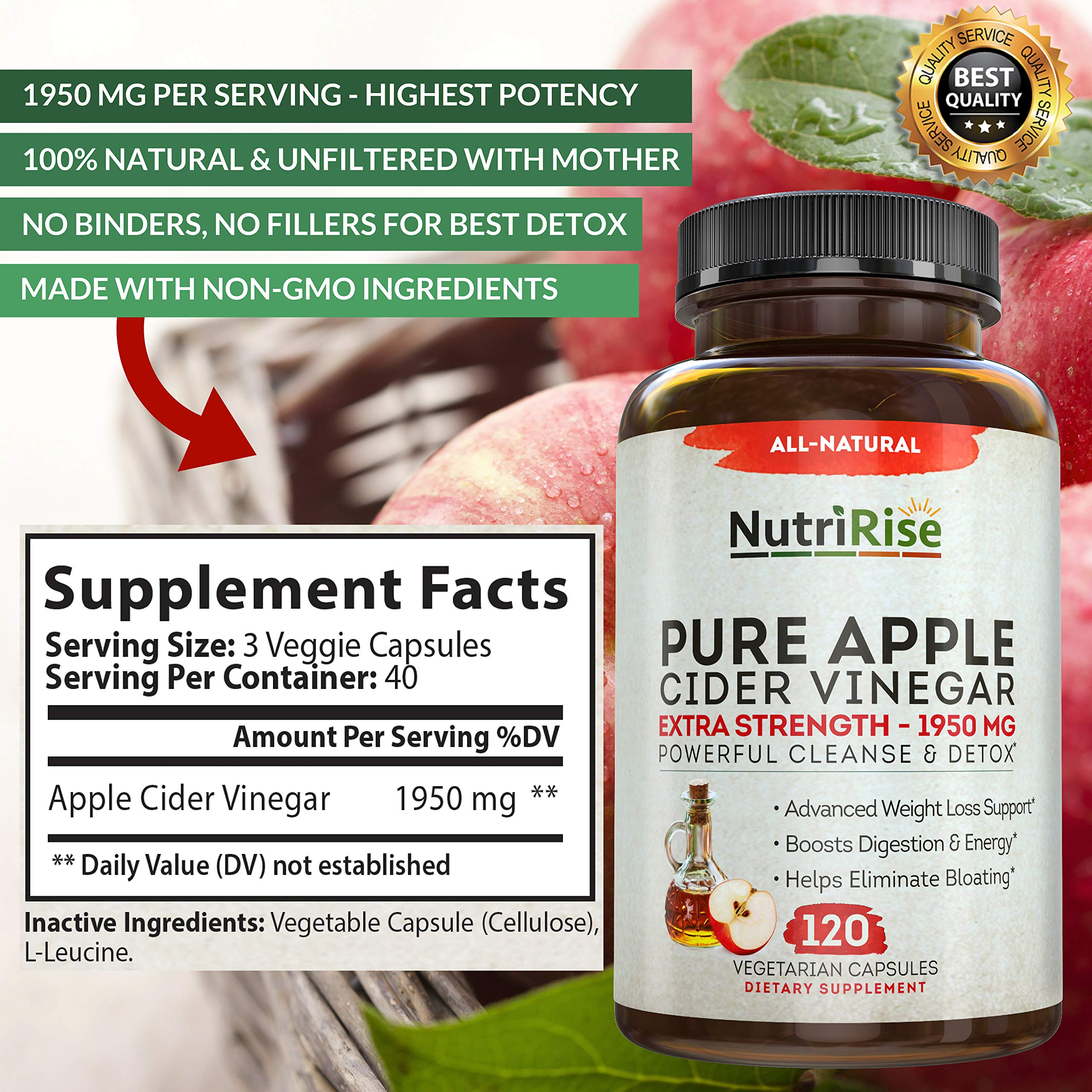 Apple Cider Vinegar Capsules for Weight Loss & Cleanse - 100% Pure Extra Strength 1950mg - 120 Natural Diet Pills for Women & Men for Bloating & Constipation Relief, Digestion & Energy Boost by NutriRise (Image #2)