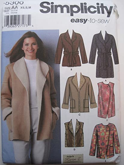 Amazon Com Simplicity 5306 Sewing Pattern Misses Coat Jackets