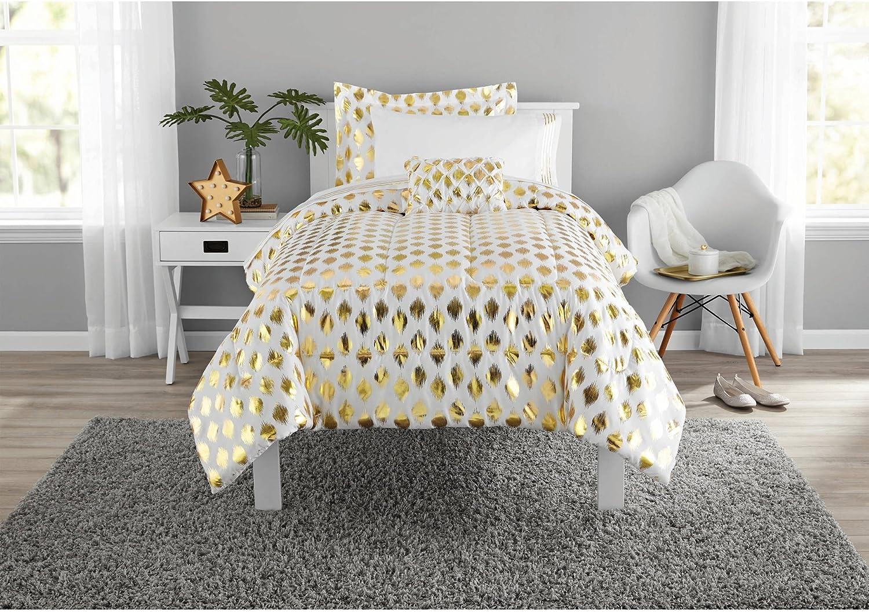 Metallic Gold Ikat Dot Design Coordinating Comforter Set (Gold, Twin-XL)