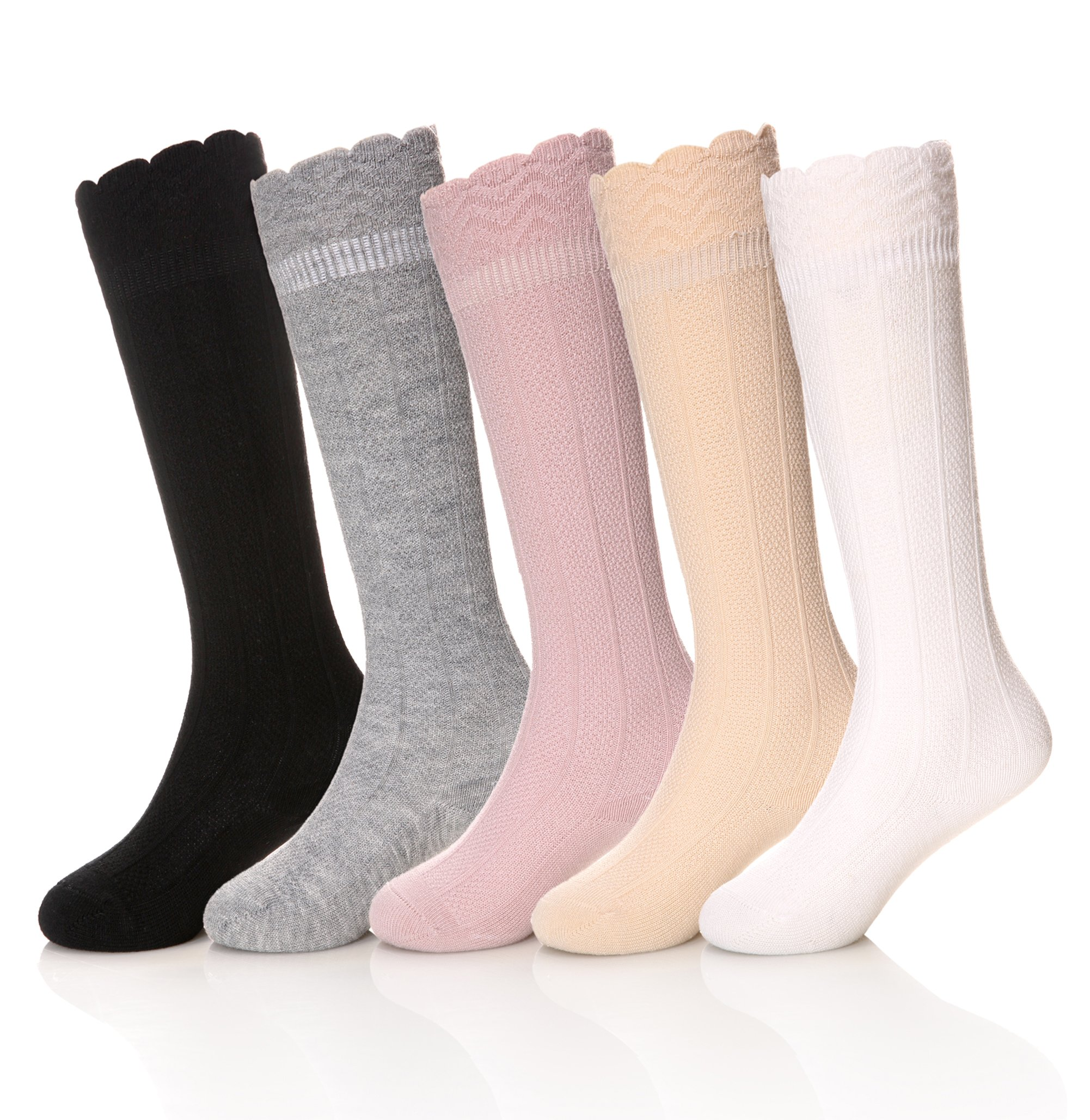 SEEYAN Baby Girls Boys Knee High Cotton Socks Kids Toddler Cable Knit Breathable Stockings (5 Pairs Color, 1-3 Years)