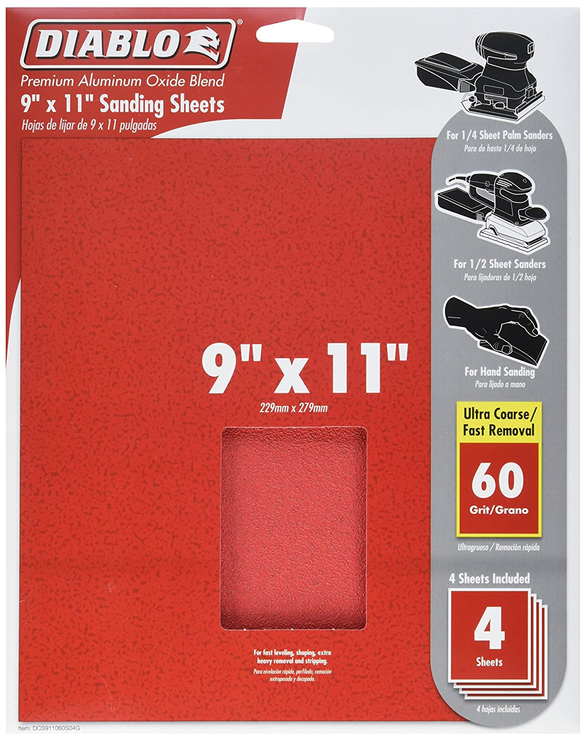 Red 9 x 11 Freud DCS911060S04G Sanding Sheet