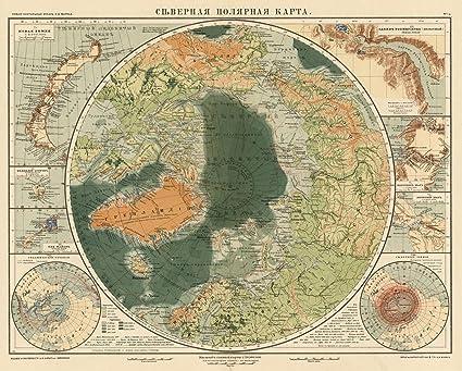 Karta World.Amazon Com World Atlas 1909 No 1b Severnaya Polyarnaya Karta
