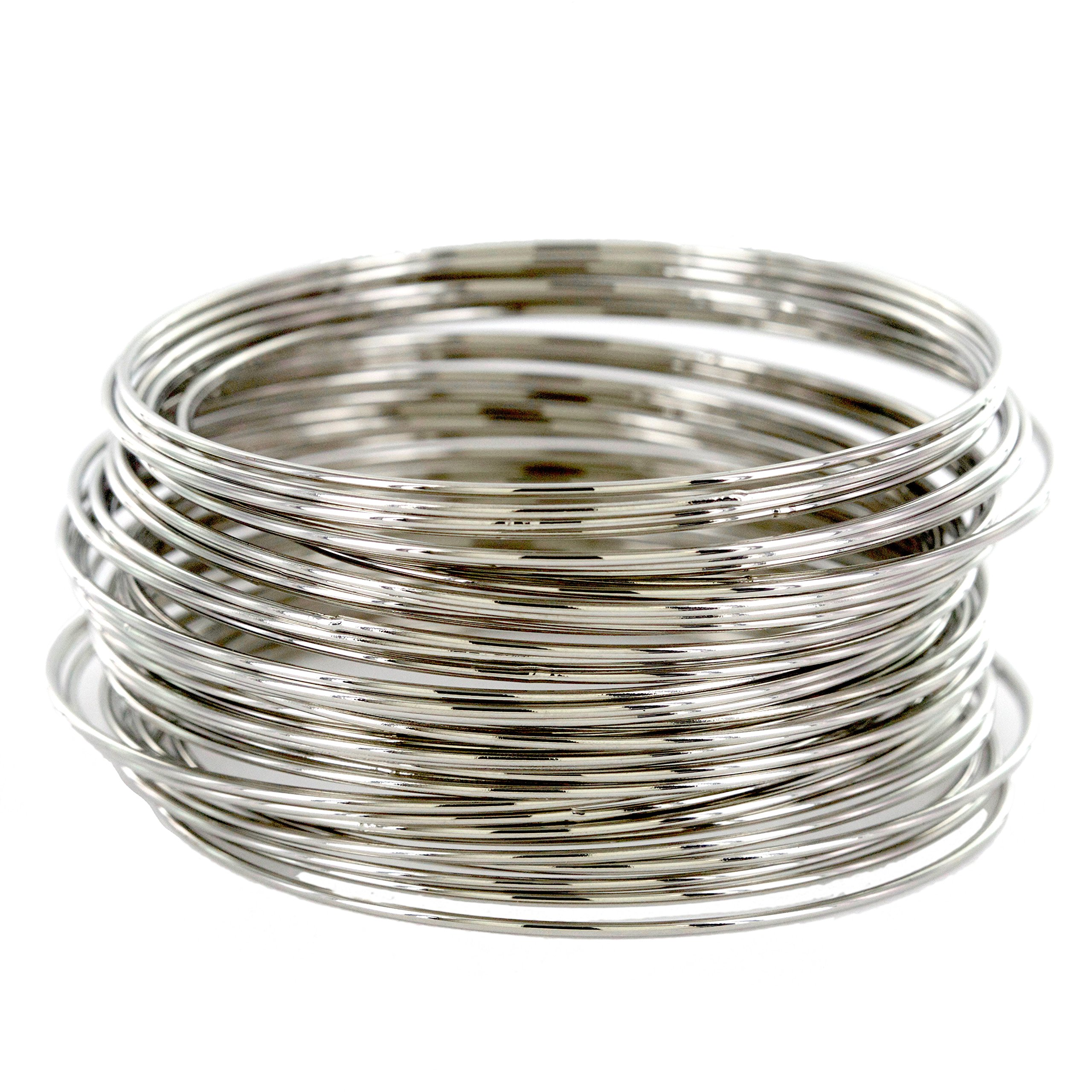 and lovely Plus Size Plated Bracelet Bangle - Set of 44 (Silver)