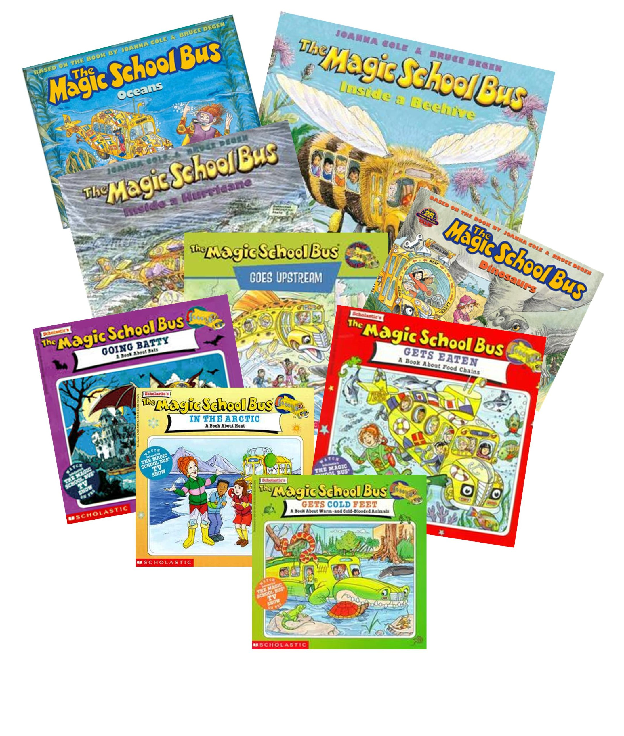 Magic School Bus Series (9) : In the Arctic; a Book About Heat; Takes a Dive, a Book About Coral Reefs; Ups and Downs, a Book About Floating & Sinking; Gets Ants in Its Pants, a Book About Ants; Inside the Human Body; Lost in the Solar System (The Magic School bus gets eaten, a book about food chains - Inside Ralphie, a book about Germs - Inside a Hurricane)