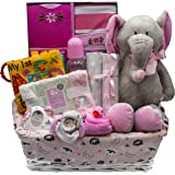 Bundle of Joy Deluxe Baby Girl or Boy Gift Basket (Medium)   21 Piece New Baby Gift Set (Pink)