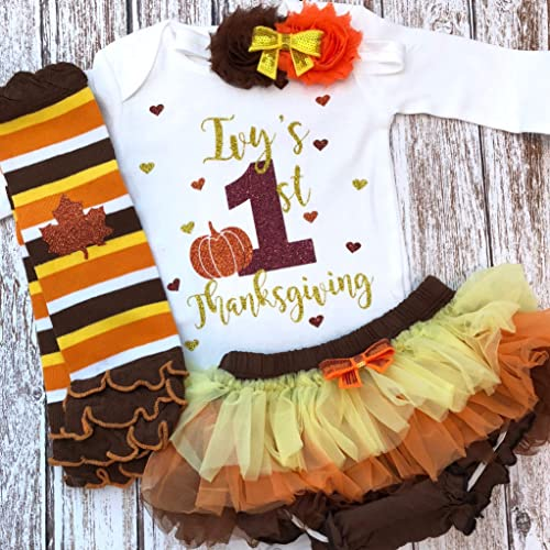 12821aec2 Amazon.com: First Thanksgiving Baby Girl Outfit Personalized Name Fall  Outfit Optional Tutu Bloomers Headband and Leg Warmers: Handmade