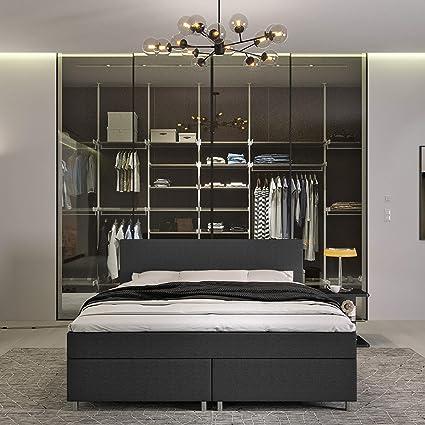 INNOCENT® – Cama con somier P4, 180 x 200 en antracita, tejido 3D Air de 6 cm, colchón de muelles Bonell, grado de dureza H2, cama de boxeo para ...