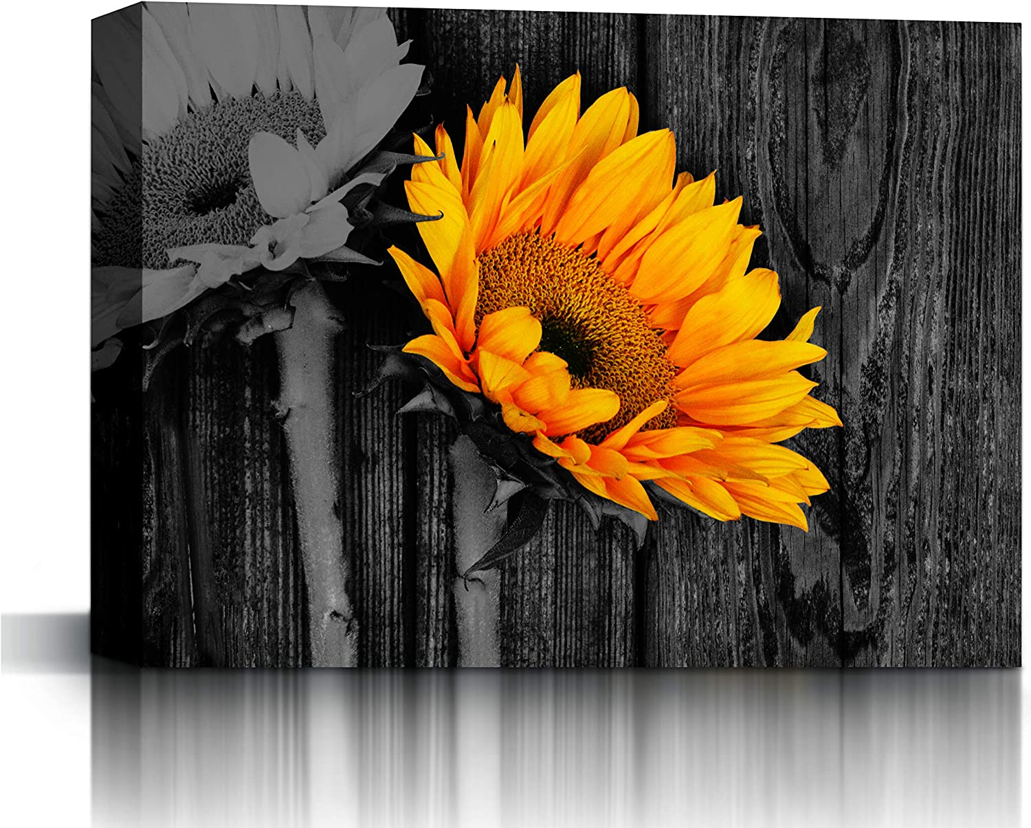 Blanche Black and White Rustic Sunflower on Wooden Table Wall Art Framed Canvas Print Decor   Modern Artwork Picture for Living Room Bedroom Home Salon Decoration   Size 32x24in