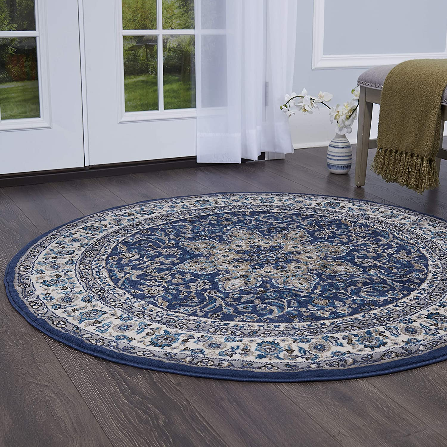 "Home Dynamix Tremont Magnolia Rug, 39"" Round, Navy/Ivory"