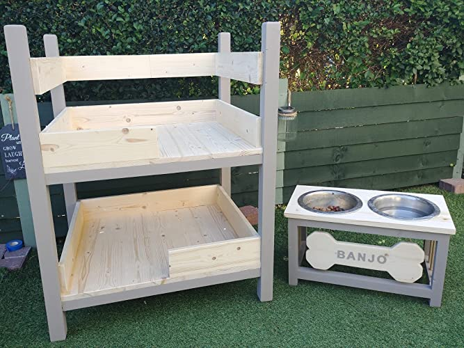 Handmade Wooden Dog Bunk Bed With Ramp And Dog Feeder Bowl Stand