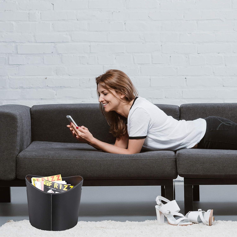 Relaxdays Cesta Leña con Asas, Leñero Interior, Cuero Sintético, 18,18 x  18,18 x 18 cm, Negro