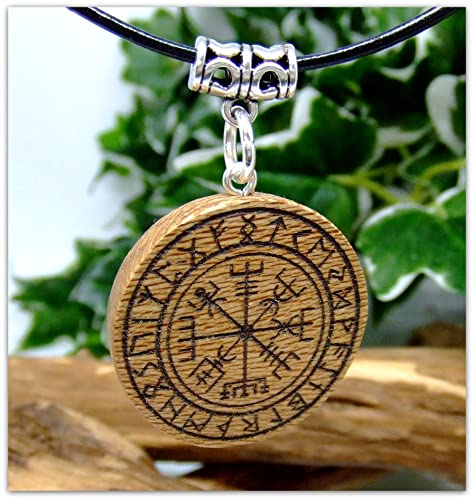 Vegvisir Pendant Necklace in London Plane wood Gift Icelandic Wooden