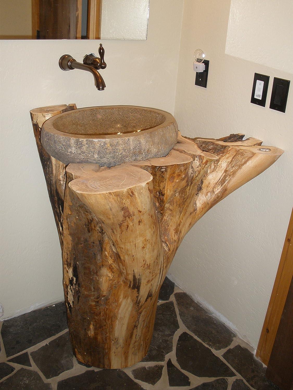 Bathroom rock vessel sinks - Eden Bath S019rr P Natural River Rock Boulder Sink Polished Interior Amazon Com