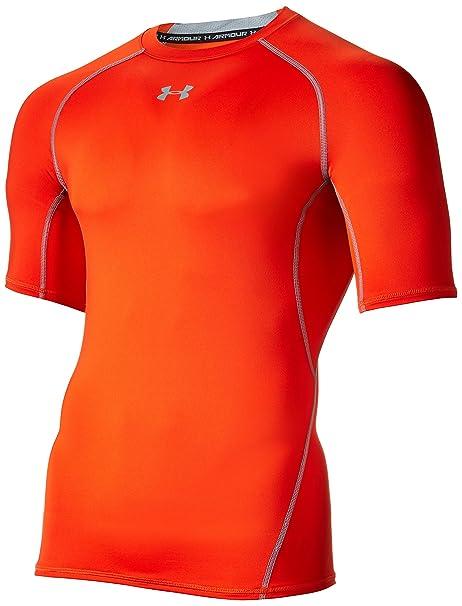 Under Armour UA HeatGear, Maglietta a Compressione da Uomo, Arancione,  Taglia S
