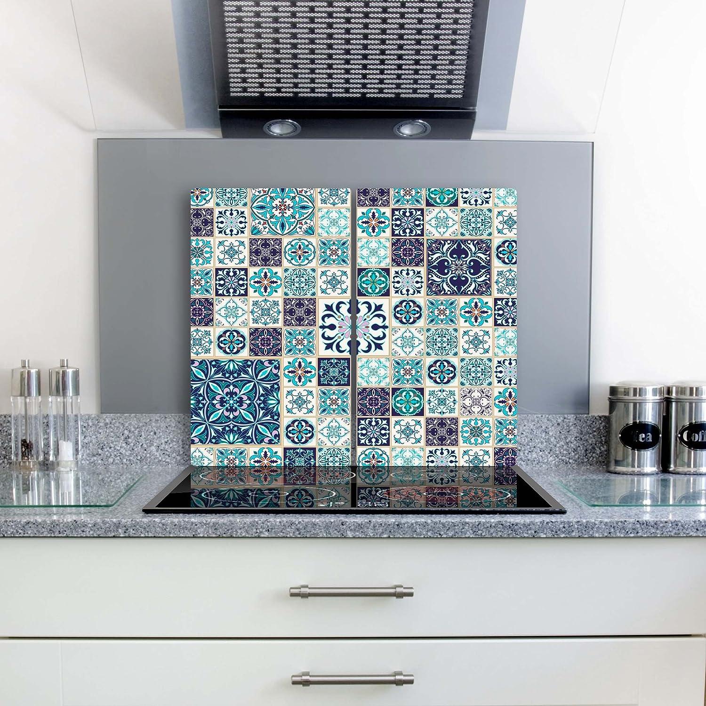 herdabdeckplatten ceranf eldab de couverture Protection anti-éclaboussures Verre 2x 30x 52Textura Bleu Fleurs gsmarkt