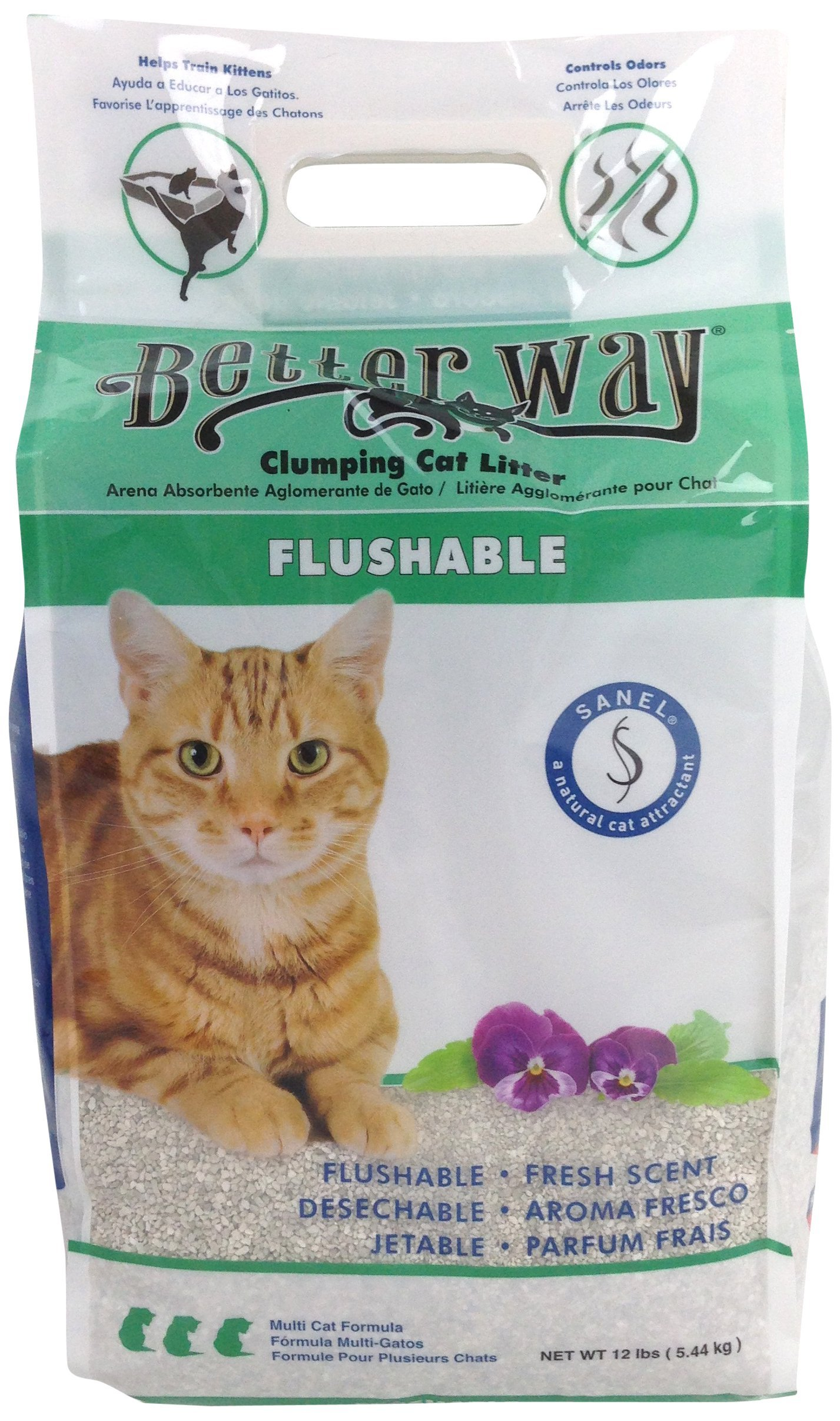 Better Way Eco Fresh Clumping Cat Litter (formerly Better Way Flushable Cat Litter), 12lb bag (pack of 3) by Ultrapet