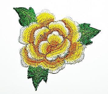 Ramo De Flores De Rosas Amarillas De Mauve Con Bordado Para Coser O