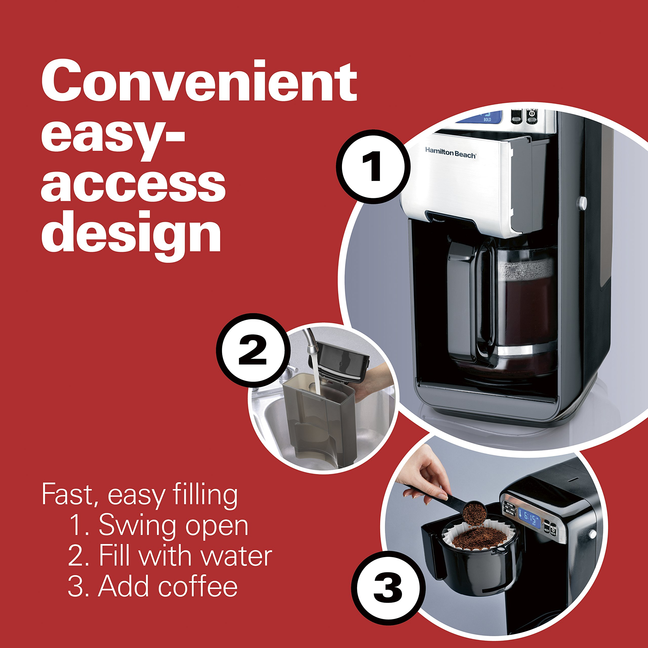 Hamilton Beach (46205) Coffee Maker, Programmable with 12 Cup Capacity, Stainless Steel by Hamilton Beach (Image #2)