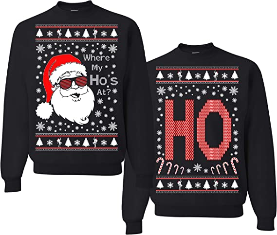 Christmas Jumper Funny Father Christmas Where My Hos At Sweatshirt Xmas HOHOHO