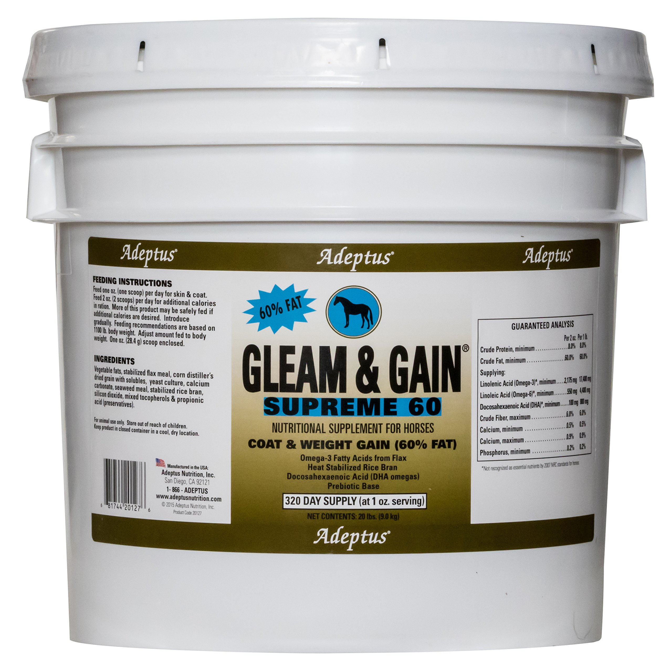 Adeptus Nutrition Gleam and Gain Supreme 60 EQ Joint Supplements, 20 lb./12 x 12 x 12 by Adeptus Nutrition
