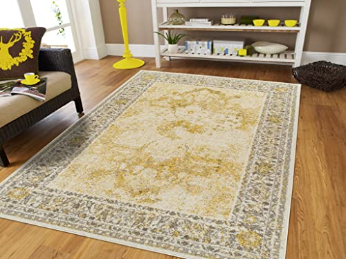 Modern Distressed Area Rug Carpet Vintage Rugs for Living Room Medium 5 x8 , Yellow