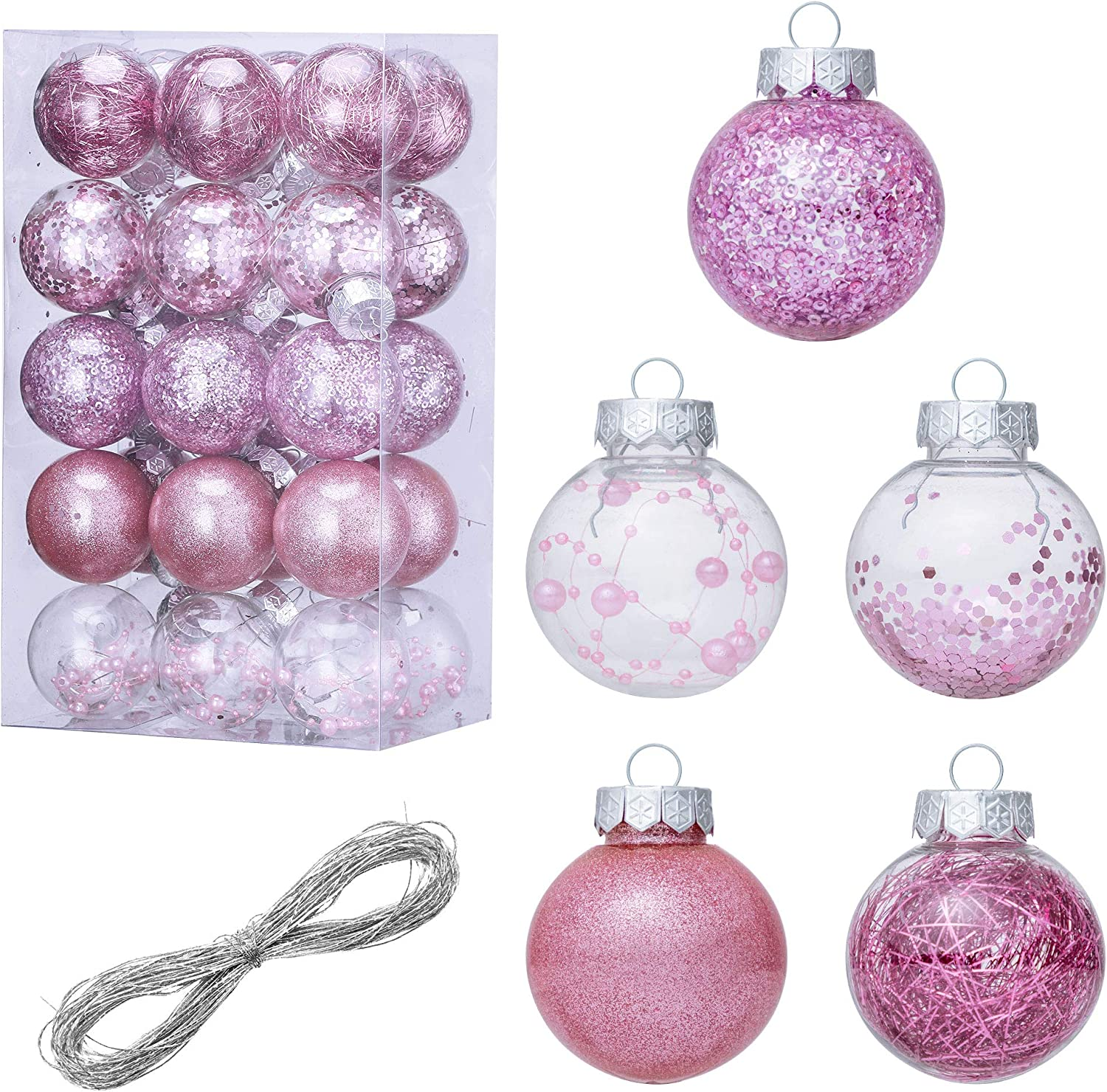 LessMo 30 Pcs Christmas Ball Ornament, Shatterproof Clear Plastic Christmas Decorative Ball, Hanging Christmas Ball Baubles Set with Stuffed Delicate Decor, for Holiday Wedding Party Tree Decoration