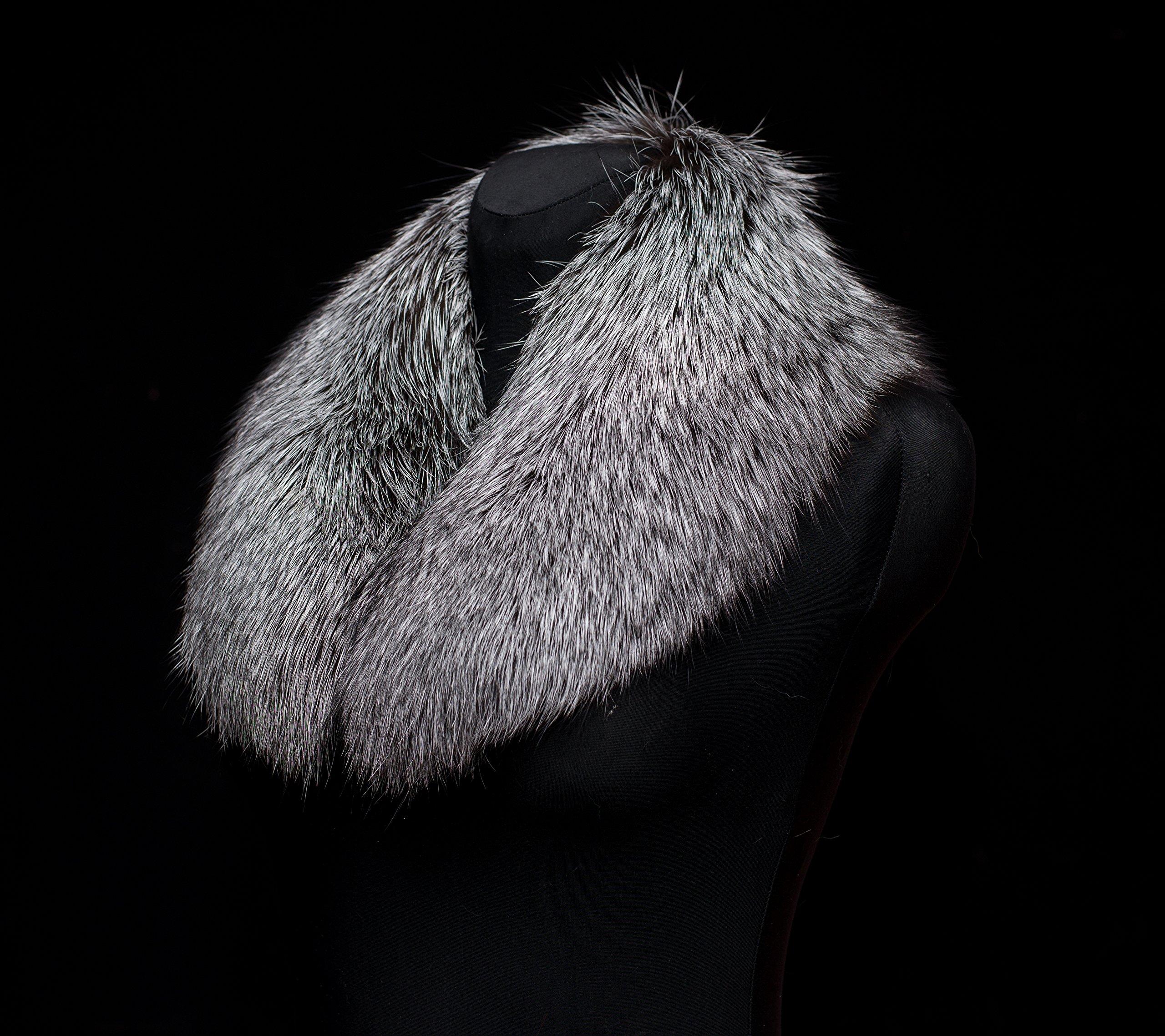 Genuine Premium Silver Fox Fur Handmade Scarf Collar Stole