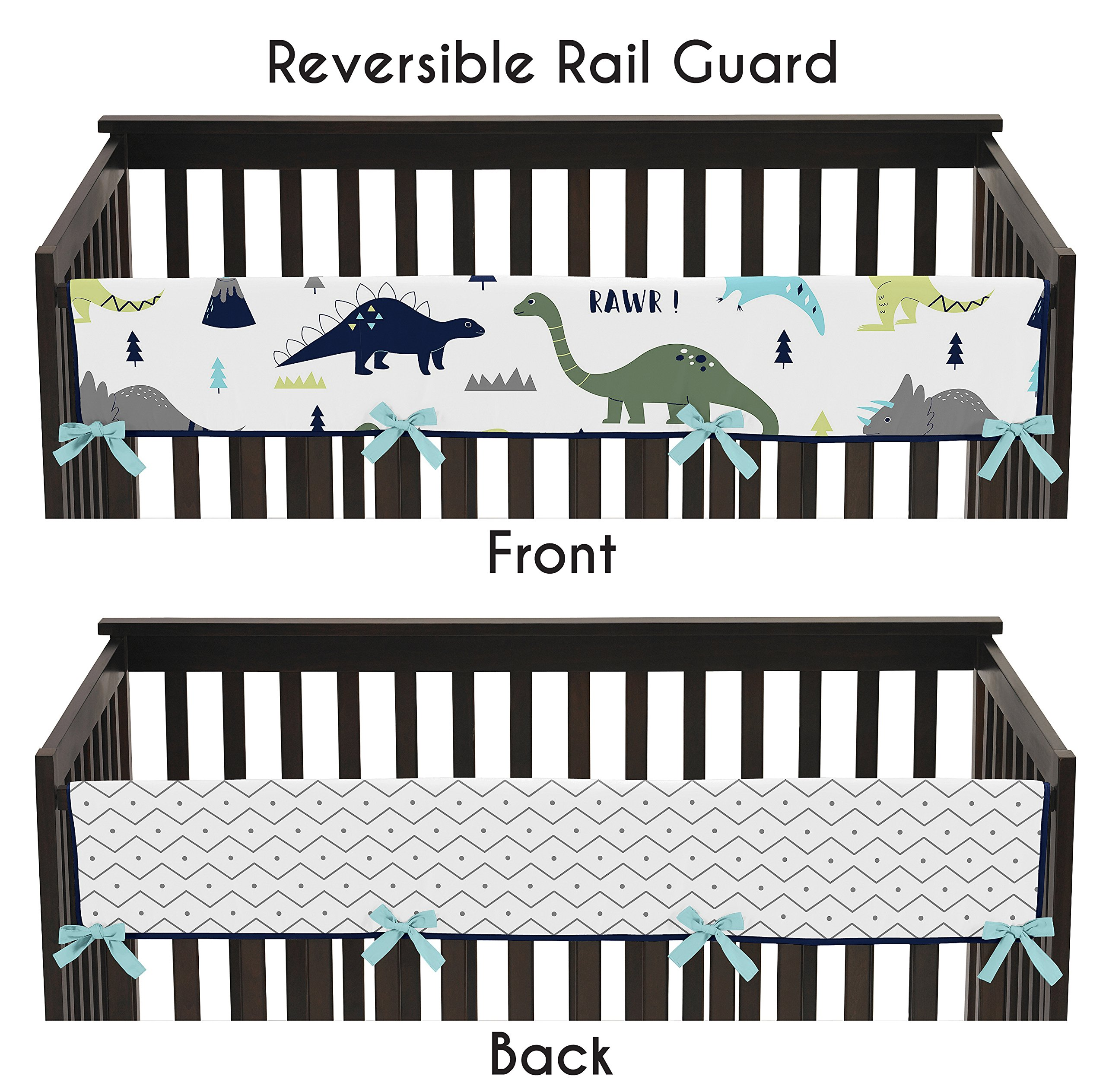 Sweet Jojo Designs Blue and Green Modern Dinosaur Long Front Rail Guard Baby Teething Cover Crib Protector Wrap