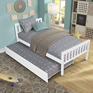 Twin Bed with Trundle, HABITRIO Solid Wood Twin Size Platform Bed Frame w/Headboard, Footboard, No Box Spring Needed Captain's Bed, Furniture for Teens Boys Girls Bedroom, Guest Room (White)