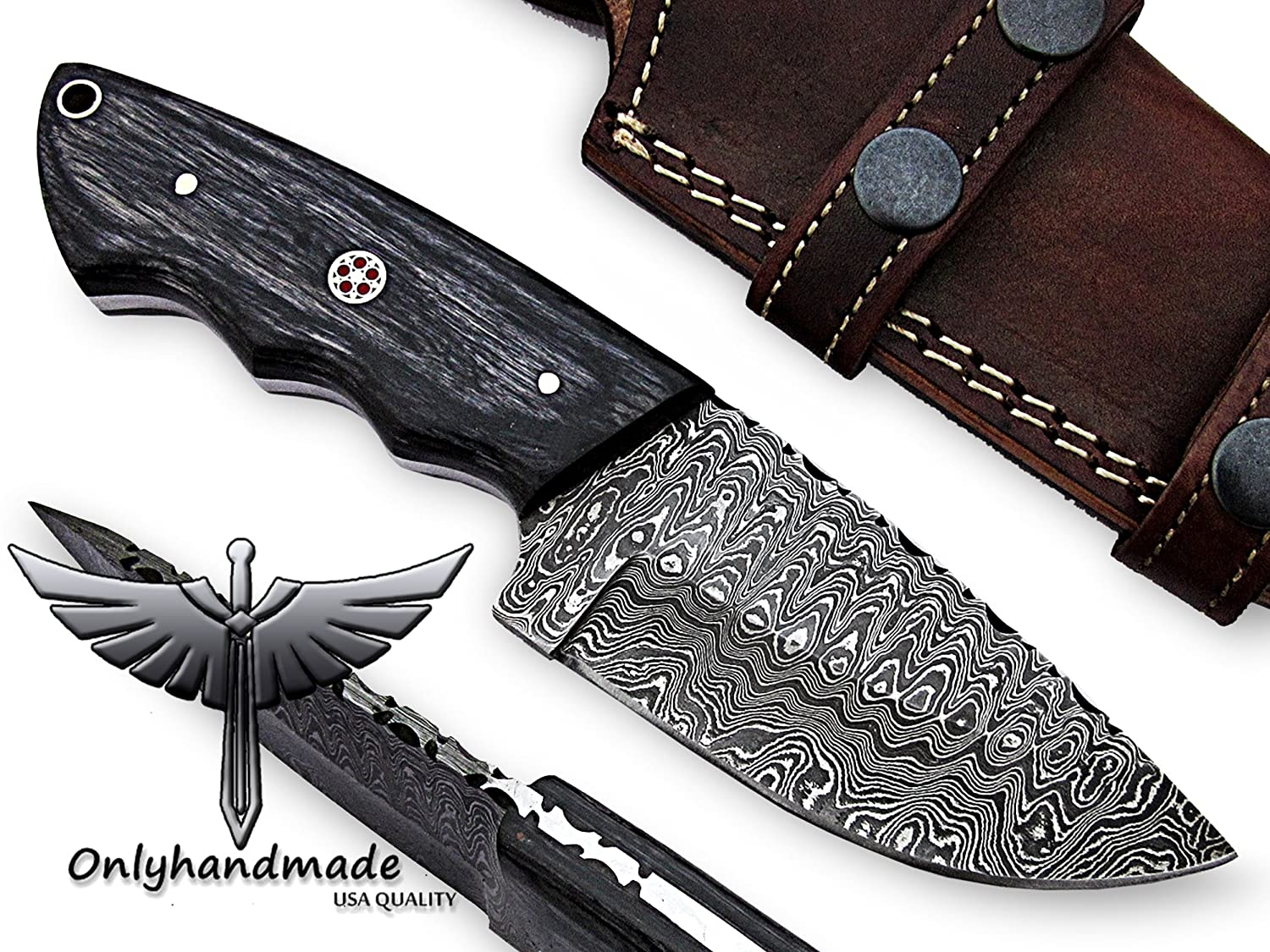 onlyhandmade 7.75 Beautiful Damascus Knife Made of Remarkable Damascus Steel and Exotic Wood -Its A Hunting Knife with Sheath OHM-058