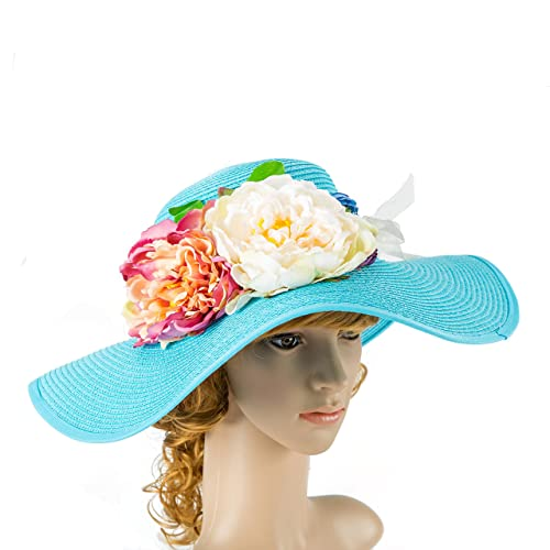 ee2a35eb Amazon.com: beach straw hat, Mrs hat, Embroidered floppy hat, Honeymoon sun  hat, Something blue for bride, Bridal shower gift: Handmade