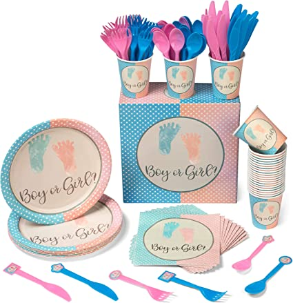 Kids Gender Reveal Cups 9 OZ Children Fancy Party Supplies Accessory Pack of 8