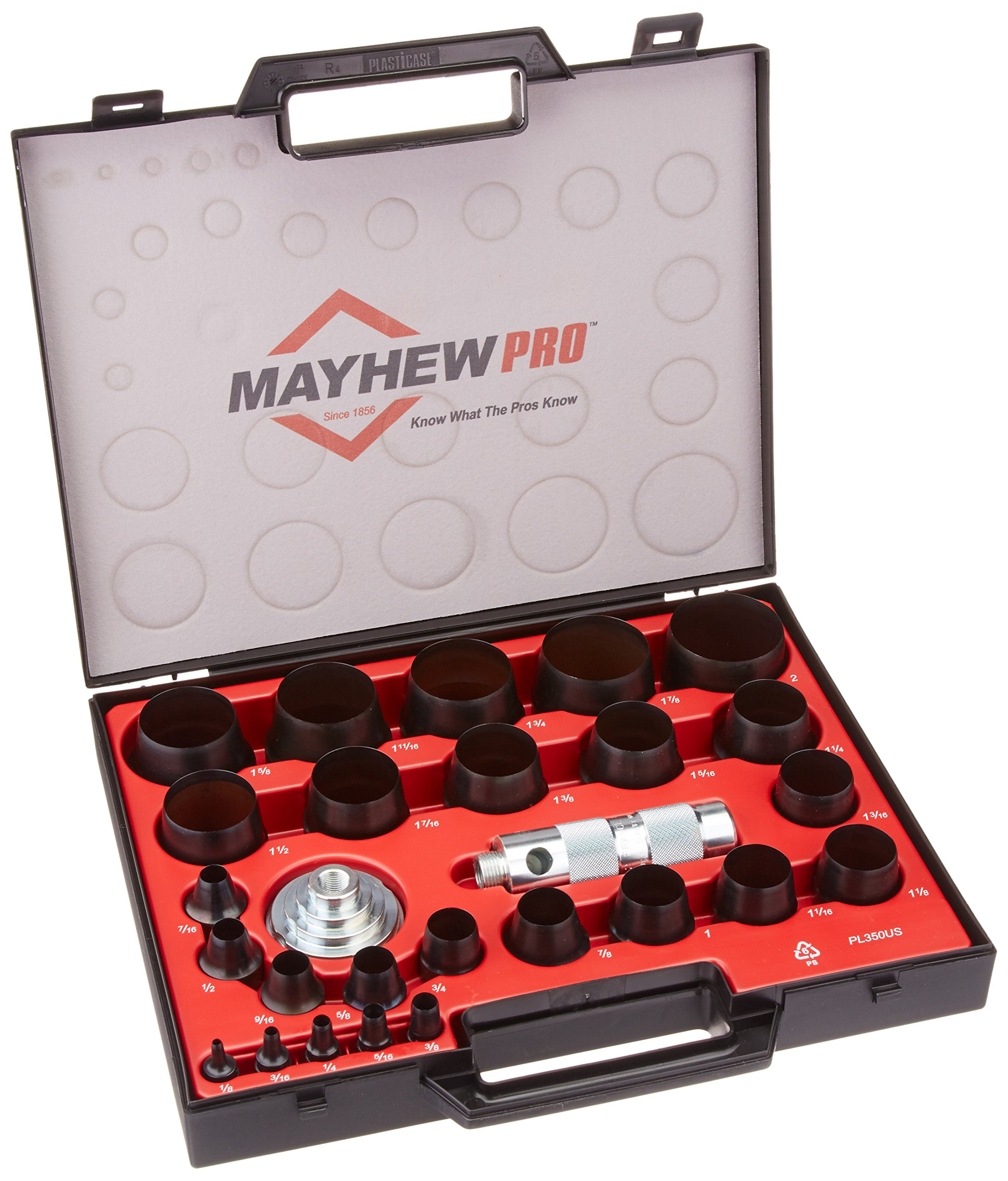 Mayhew Pro 66002 1/8-Inch to 2-Inch Imperial SAE Hollow Punch Set by Mayhew Tools