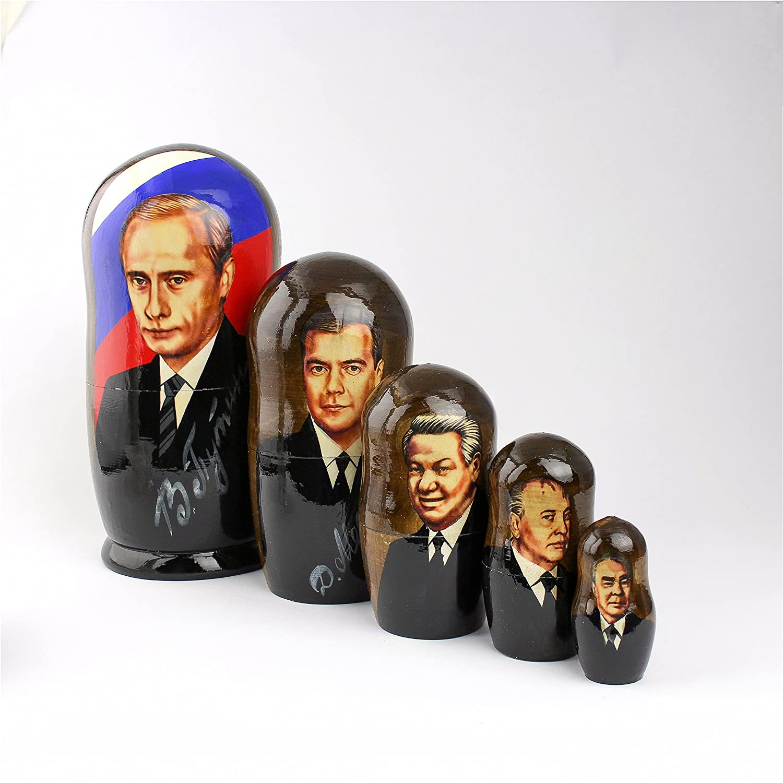 Heka Naturals Matryoshka Russian Nesting Dolls Putin Presidenti URSS russi Classic Babushka Fatti in Russia 5 pezzi 18 cm Regalo in legno rus-0029