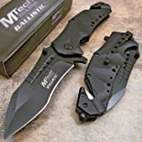 MTech USA Ballistic MT-A845 Series Spring Assist Folding Knife, Black Blade, 5-Inch Closed
