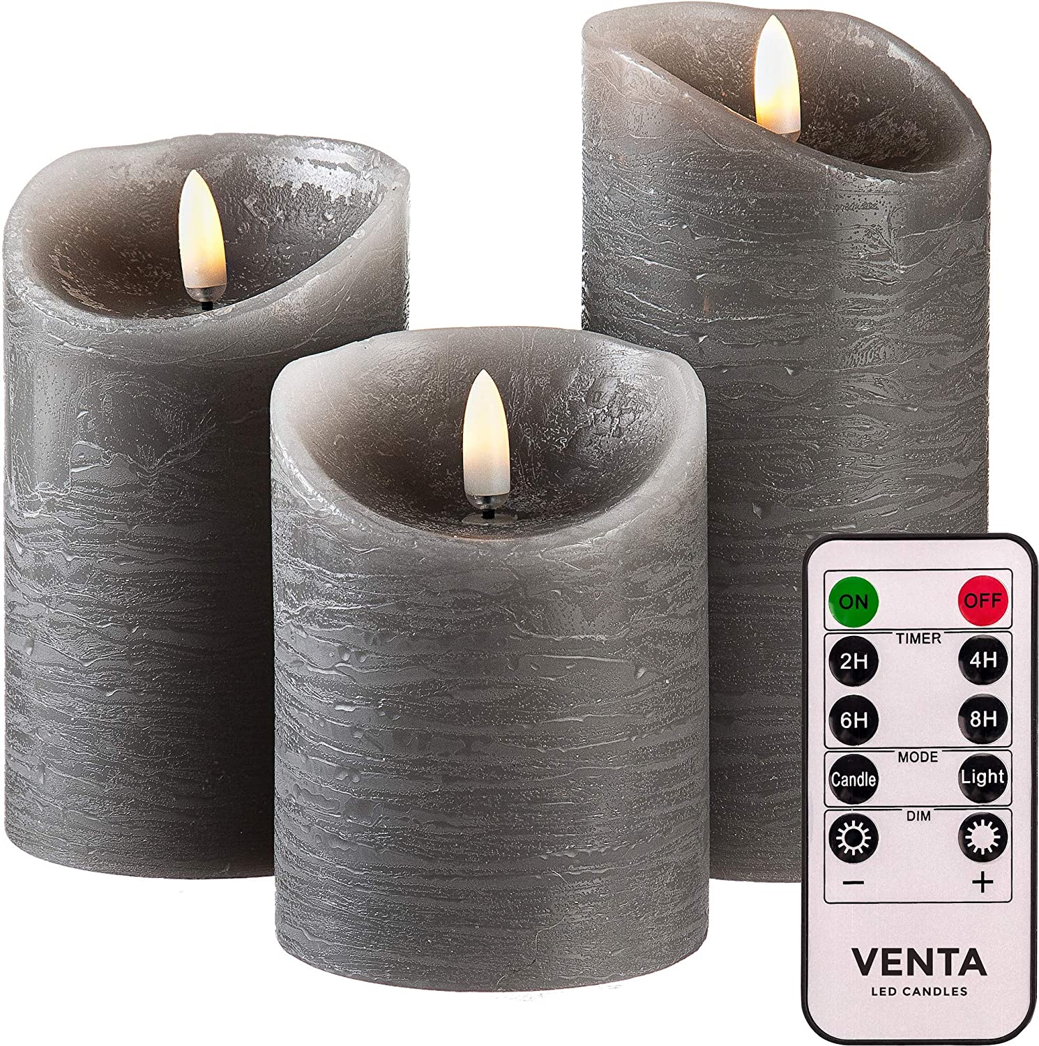 Set of 3 Realistic Flameless Grey LED Candles with Remote Control - 4'' 5'' 6'' Electric Wickless Pillar Battery Operated Candles with Flickering Flame Timer