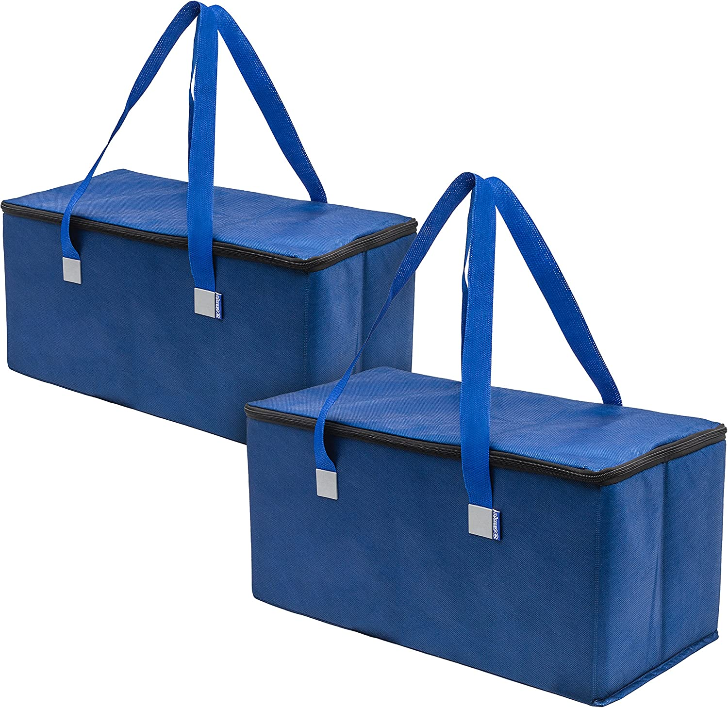 Planet E Reusable Grocery Shopping Bags Trunk Size Extra Large Collapsible Insulated zippered Coolers with Reinforced Bottoms Made of Recycled Plastic (Pack of 2)